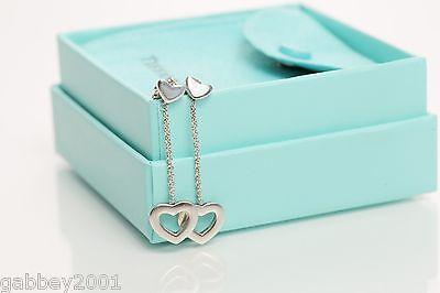 Tiffany & Co. Sterling Silver Heart Dangle Drop Earrings w/ Box & Pouch