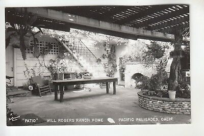 Plunkett Real Photo Postcard Patio Will Rogers Ranch Home Pacific Palisades CA for sale  Worcester