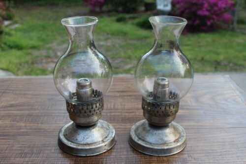 Pair Antique Spring Loaded Candle Holder Push Up Glass Silver Candlesticks