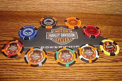 #9 Nine Different Harley Davidson Motorcycle Poker Chip Set Skull & Flames  New