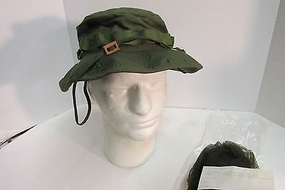 US VIETNAM ERA OD BOONIE HAT 6 7/8 OG-107 1969 NEW IN WRAP WITH MOSQUITO NET