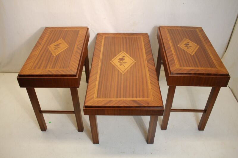 1940 Set Of 3 Walnut Inlaid coffee Table and 2 Side table by Raupa Kunst Germany