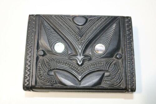 "Vintage Maori ""Tapu"" Trinket Box, Carved Wood, Shell Eyes 1030s"