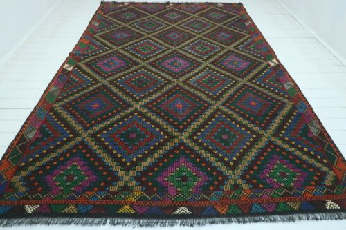 "Oversize Turkish Kilim, Large Area Rug, Teppich, Embroidery Wool Carpet 90""x137"""