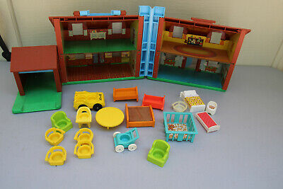 Vintage Fisher Price Little People Play Family Brown Tudor House #952
