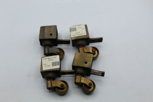 "(4) VTG Brass Bronze Casters 1 1/4"" Swivel Horizontal Table Furniture Trolley"