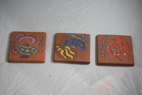 "Contemporary Catalina Tiles, Three, all 4"" x 4"" , Sea Creatures, signed SAS  -10"