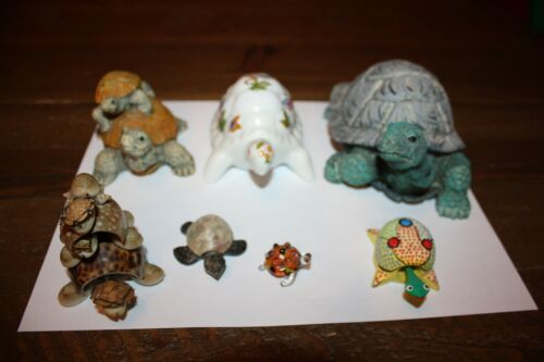 Vtg. 7 different Turtles,Sea Shell, Glass,Stone, a Nodder, Ceramic, 2 Large ones