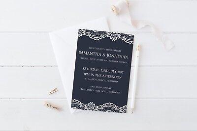 Navy & Lace Wedding Invitation SAMPLE set Wedding Stationery Wedding Suite](Wedding Stationery Sets)