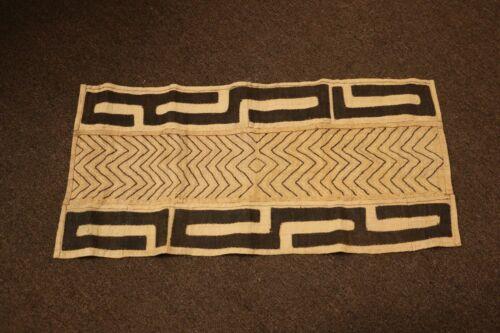 "Hand-woven Original Kuba Cloth Raffia Textile Runner African Tribal 16"" X 34""L"