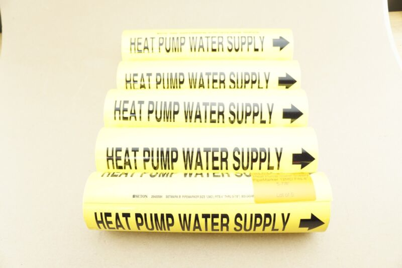 "(5) New Seton Setmark Heat Pump Water Supply PipeMarker 12MD Fits 4"" - 5-7/8"""