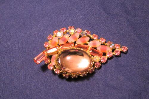 Vintage Juliana Pink Mirror Shiny Bombe & 2-tone Cabochon Brooch/Pin