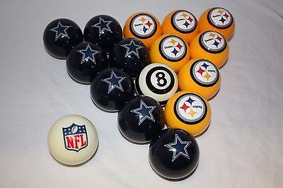 NEW NFL Pittsburgh Steelers vs Dallas Cowboys Billiard Pool Cue Ball Set Dallas Cowboys Nfl Billiard Balls
