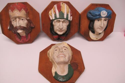 4 Vtg Allan Herschell Heads Carousel Scenery(Lady~Chief~Prince~King) Mounted~50s