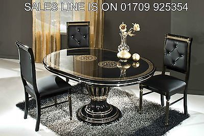 Versace Greek Key Design Rossella Black/Gold Round Dining Table 4 fabric Chairs