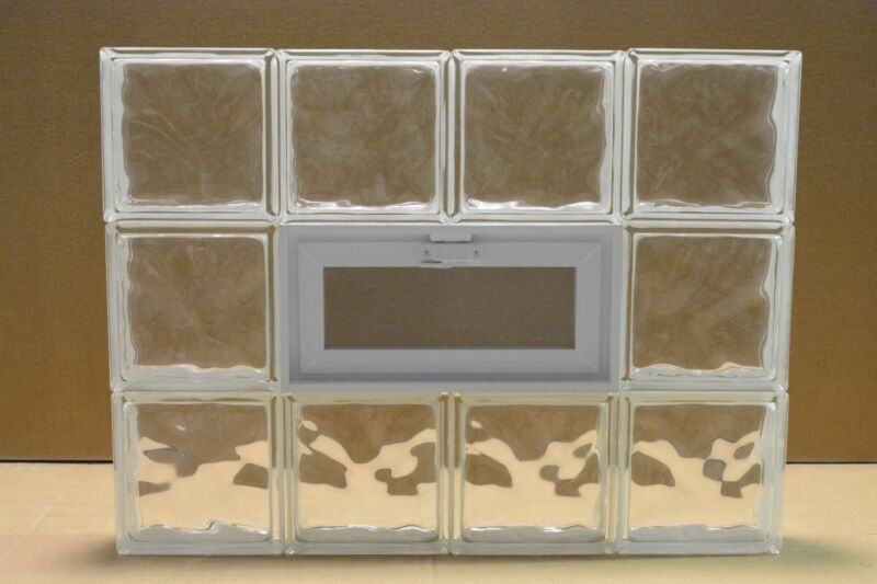 32 x 24 Vented Glass Block Window Wave Pattern
