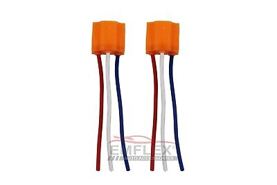 2 x Ceramic H4 Headlight Connector Repair Plug Wire Socket Bulb With Loom 3 pin