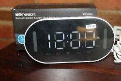 Emerson Dual Alarm Clock with Bluetooth Speaker, FM Radio, Phone Rest, Temp