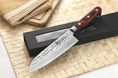 Japanese VG-10 Hammered 67 Layers Damascus steel Santoku Chef knife 7in vs SHUN