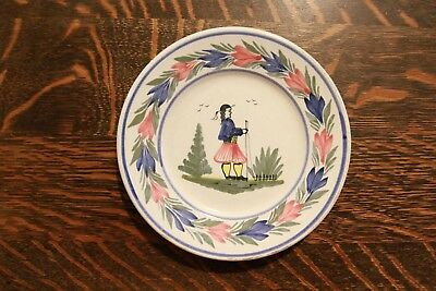 "HENRIOT QUIMPER SMALL 6-9/16"" FRENCH HAND-PAINTED PLATE - LOVELY!!! VERY NICE!!!"