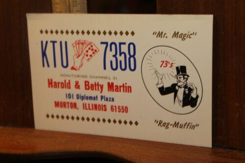 Vintage QSL Card Harold Betty Martin Morton Illinois Magician