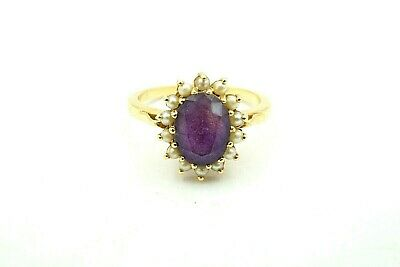 Vintage 14k Yellow Gold 1.25 Carat Amethyst And Seed Pearl Halo Ring Size 5.75 1.25 Carats Amethyst Ring