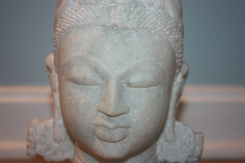 Marble Carved White Marble Asian Deity Head Meditation Vintage MINT