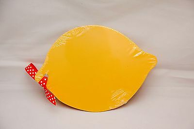 Yellow Lemon Shaped CUTTING BOARD WITH KNIFE  9 1/2 IN. X 6 3/4 INCH BRAND NEW
