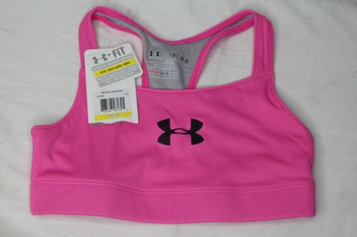 Youth Girls UNDER ARMOUR Pink Logo HeatGear Fitted Sports Bra Size Youth Medium