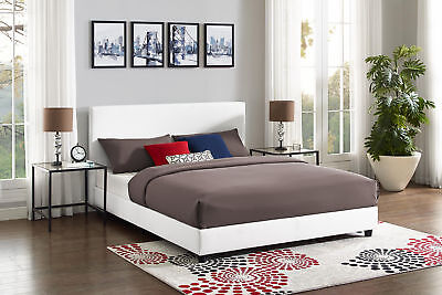 Upholstered Bed Frame Queen Size White Faux Leather Modern B