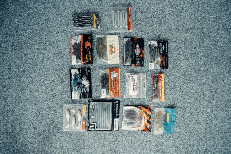 Assorted Monsterbass and Mystery Tackle Box Soft Lures