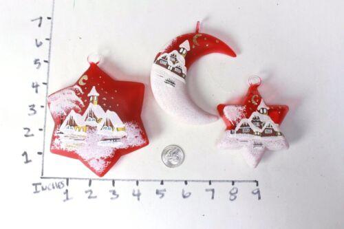 Hand Made Painted Christmas Ornaments Czech Glass Set of Three Santa Star Moon