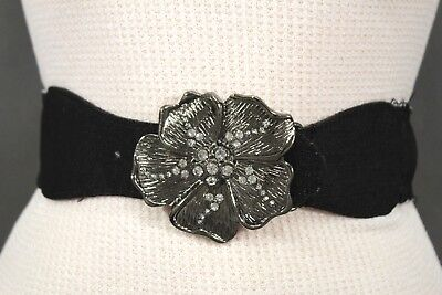 Denim Metallic Belt (Women BLack Denim Fabric Belt Silver Big Flower Metal Statement Buckle Size XS)