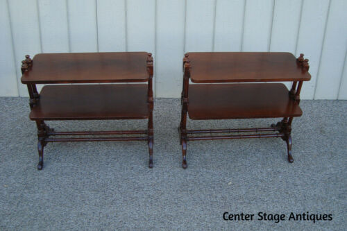 60878 Pair Solid Mahogany HAMMARY Curio Bookcase End Table Stands Nightstands
