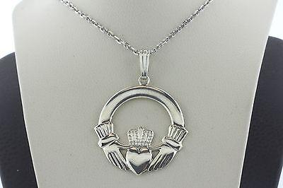 Vintage Sterling Silver 925 Celtic Irish Claddagh Reversible Round Charm Pendant