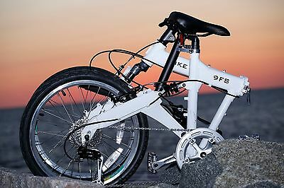 Downtube 9FS White Full Suspension Folding Bike 9 speed ( 27speed compatable )