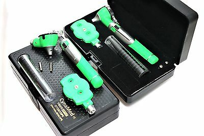 Premium Fiber Optic Mini Otoscope Opthalmoscope Diagnostic Set Ent-green Color