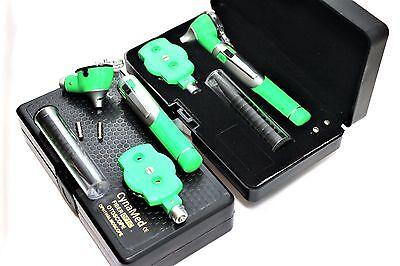 Premium Fiber Optic Mini Otoscope Opthalmoscope Diagnostic Set Ent-green Color