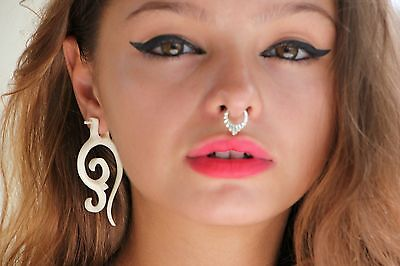 Dangle Earrings Carved Handmade Horn Bone Wood Tribal Fake Gauge Posts Exotic