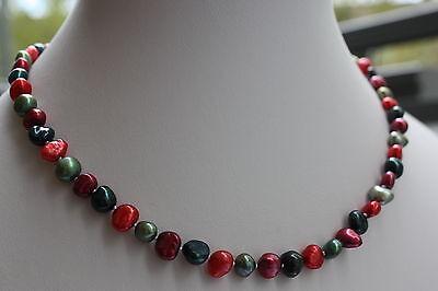 BR26 46cm Echt Süßwasser Perlen Schmuck Perlenkette Halskette Collier Barock