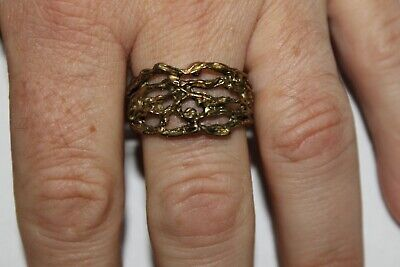 Men Vintage Fashion Abstract Woven Vine Ring Brass Band Jewelry Hippie