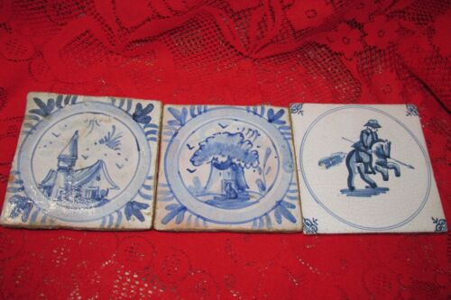 Vintage Lot of 3 Antique Dutch Delft Tiles