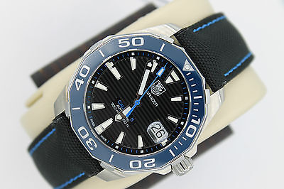 Tag Heuer NEW NWT BLUE Aquaracer Watch Mens WAY211B.FC6363 $2500 AUTOMATIC MINT