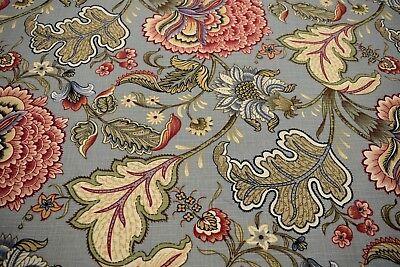 - Linen Light Blue Green Leaves Upholstery Drapery Fabric Soft Decorative 55