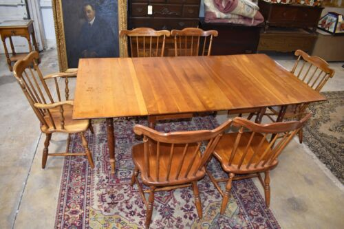 Solid Cherry Vintage Gate Leg Table with 6 Solid Cherry Dining Chairs