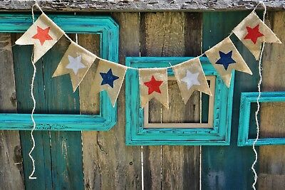 Halloween Day In Usa (Patriotic Star Memorial Day 4th of July Burlap Banner Handmade in)