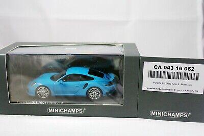 Porsche 911 991 Turbo S Miami Blau CA04316062 Minichamps 1:43