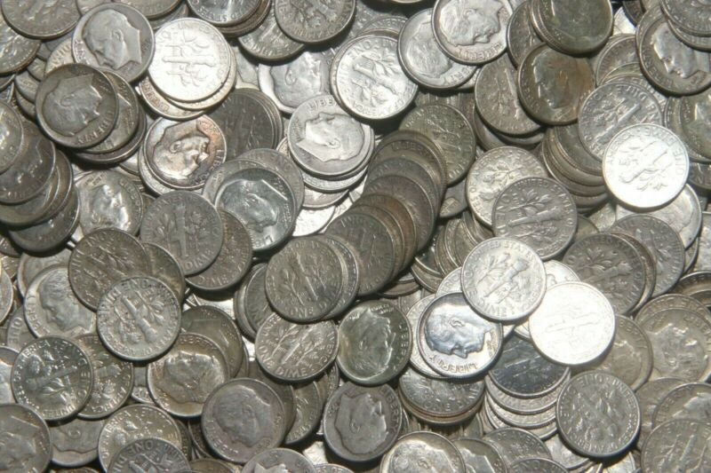 3 Randomly selected 1964 Or Earlier 90% Silver Roosevelt Dimes - Free Shipping