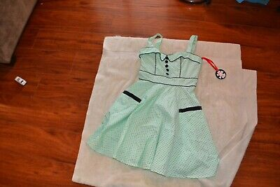 Hell Bunny Green & Black polka dot 50s grease style dress size XS new - 50s Fashion Grease
