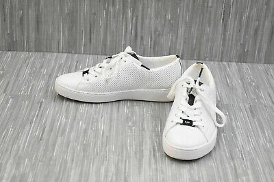 Michael Kors Keaton Lace Up Lasered Leather Sneakers, Women's Size 6M, White